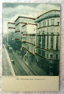 POSTCARD RAILROAD TROLLEY TRAINS WESTMINSTER ST PROVIDENCE R I #77