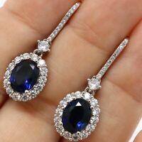 4Ct Oval Cut Blue Sapphire & Diamond Drop/Dangle Earrings 14K White Gold Finish