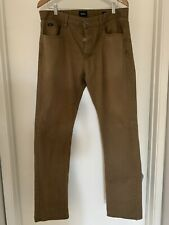 RVCA MENS STAY STRAIGHT FIT SLIM BUTTON FLY BROWN LONG PANTS SIZE 36