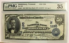 1902 $50 National Banknote MIDDLEBURY Vermont Date Back* PMG 35 Choice Very Fine
