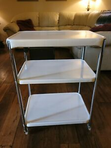 Vintage COSCO 3 Tier Kitchen Rolling Cart with Electric Outlet White