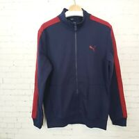 Puma Mens Full Zip Track Jacket Size M Navy Blue Athletic Athleisure Warm Up NEW