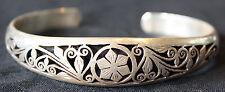 925 Sterling Silver Flower BRACELET mantra Tibet Nepal Buddhist scroll swirl