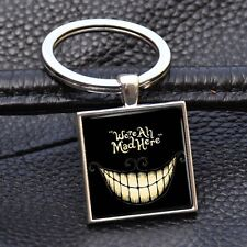 Alice in Wonderland Key Chain Cheshire Cat Keyring Alloy Keychain Square Jewelry