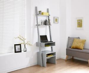 Grey Ladder Modern Style 3 Tier Computer Study Desk with Bookcase Shelves