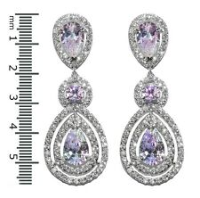 GLITZY PAVE AURORA BOREALIS+CLEAR HALO TEARDROP CZ CHANDELIER EARRINGS 57MM