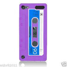 APPLE iPod Touch 5 RETRO STYLE CASSETTE TAPE SILICONE SKIN COVER CASE PURPLE
