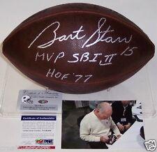 BART STARR PACKERS HAND SIGNED OFFICIAL NFL DUKE FOOTBALL SB I,II MVP HOF 77 PSA