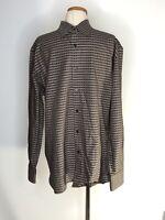 Perry Ellis Mens Size L Shirt Brown Dress Geometric Design Collar Button Front