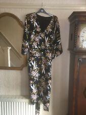 M&S Dress 28 Black Yellow Floral