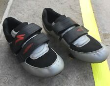 Comp Specialized Bike Shoes 7.5 Mens 40 EU 6.5 UK Silver Black 3 Bolt Cycling