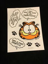 RARE Vintage Fuzzy Sticker Garfield 1 Sheet 7 Stickers