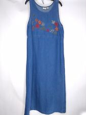 Mountain Lake Casuals Women's Blue Dress Large Leaves