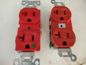 USED PAIR 20a 125v OUTLETS Hospital Recept Red HUBBELL COOPER