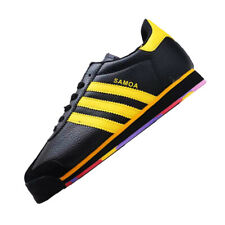 adidas mens samoa black yellow trainers size 6.5 10.5 leather shoes sneakers