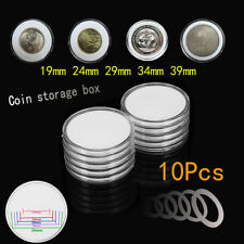 10x Clear Round Plastic Coin Capsule Container Storage Box Holder Case 19 ~ 39mm