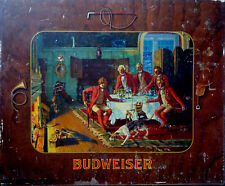"""15"""" X 12 1/2"""" Flat Steel old lithograph Budweiser Fox Hunt Pre Pro Beer Hunt Dog"""
