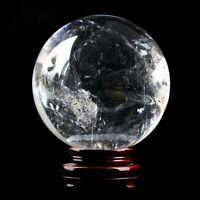 40mm Natural White Clear Quartz Crystal Sphere Ball Reiki Healing Stone + Stand