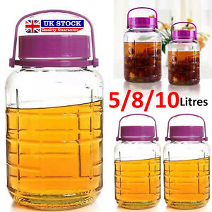 5 8 10 LITRE AIRTIGHT GLASS STORAGE JARS FOOD PRESERVE CONTAINER JAR TOP LID SET