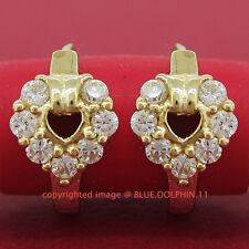 Genuine Real Solid 9k Yellow Gold Heart Hoop Huggies Dangle Earrings Lab Diamond