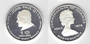 DOMINICA SILVER PROOF 10$ COIN 1979 YEAR KM#16 POPE JOHN PAUL II + COA