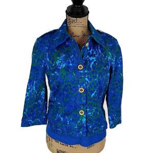 St. John Womens sz S Blazer & Sweater Tank Set Blue Green Printed Wool Blend