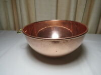 """Vintage COPPER Round Bottom Pan / Beating Bowl with Brass Hanging Ring 8 1/4"""""""
