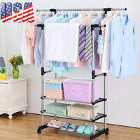 Durable Garment Rolling Rack Double Rail Clothing Bar Retail Display Hanger