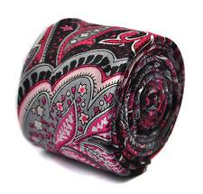 Frederick Thomas negro y corbata de Lino Skinny Paisley Rosa FT1644
