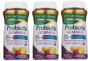 Nature's Bounty, Probiotic Gummies, tropical fruit 60 Gummies (3 Pack)