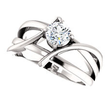 14K White Gold 4mm Round Forever One™ Moissanite Bypass Ring Modern New!