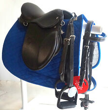 "12 13 14 15"" English Saddle Bridle Leathers Irons Blue Pad 6p Pony Lead line/ 4H"