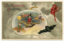 Winsch Halloween Cauldron Red Witch on Owl Red Devils Bats