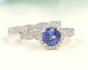 Tanzanite Engagement Ring/Twist Diamond Engagement Ring Set/14k White Gold Wedd