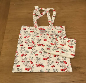 Cath Kidston BNWT Cherry Sprig Shopping Tote Book Bag And Matching Pouch New