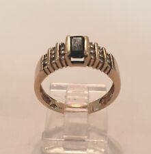 Sapphire & Diamond Ring *bb Vintage 10K Yellow Gold Blue