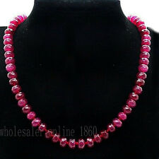 New 5x8mm Faceted Brazil Red Ruby Gems Necklace 18'' AAA