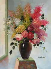 """Halifax Flowers Original Hand Painted 12""""x16"""" Oil Painting Floral Canvas Art"""