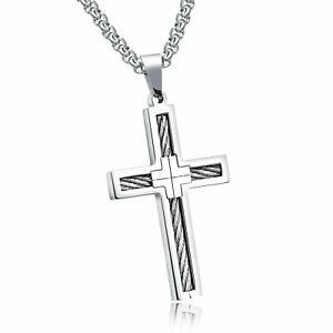 Cross Necklace Cable Wire Twist Crucifix Christian Catholic Baptismal Jewelry