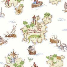 Arthouse Pirates Ahoy Treasure Map Pattern Childrens Wallpaper Boat Motif 696107