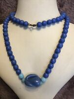 1980s Vintage Glass Necklace Beaded Retro Jewellery Jewelry Blue Beads Old