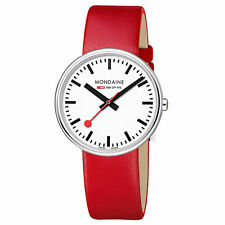 Mondaine A763.30362.11SBC Women's White Dial Red Strap Swiss Watch