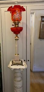 SUPERB OIL LAMPS WITH RED GLASS SHADES & BACCARAT STYLE FONT NO2