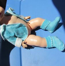 "Knit Rayon Set Jacket Booties Fits Dy-Dee Doll Tiny Tears Baby 11-12"" Blue 1950s"