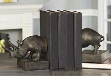 Rhinoceros Safari Bookends Set of 2 - Antiqued Gold Finish Polyresin