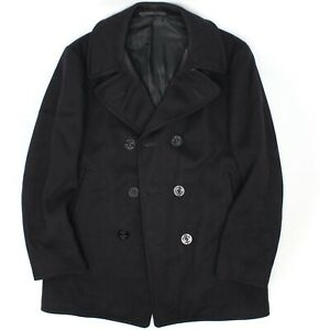 1950s US Navy Peacoat 40 Dark Blue 6 Anchor Buttons Wool Naval Clothing Depot