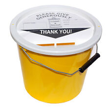 Charity Fundraising Money Collection Bucket 5.7 Litres - Yellow