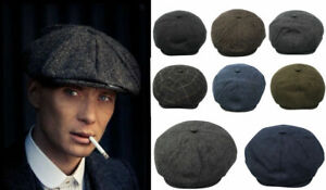 Peaky Blinders Hat Newsboy Flat Cap Herringbone Tweed 100% Wool Baker Boy Gatsby