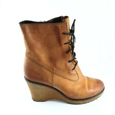 Kurt Geiger Size UK 5 EUR 38 Tan Brown Leather Lace Up Wedge Heeled Ankle Boots