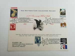 1991 National Philatelic Exhibitions 6 Stamp Card 200th Anniv Bill Of Rights